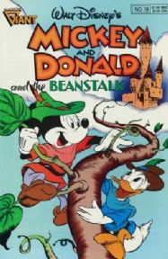 Vintage Children's magazine cover poster - Mickey and Donald and the beanstalk